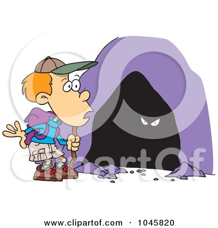 Royalty-Free (RF) Clip Art Illustration of a Cartoon Hiker Boy Seeing Eyes In A Cave by toonaday