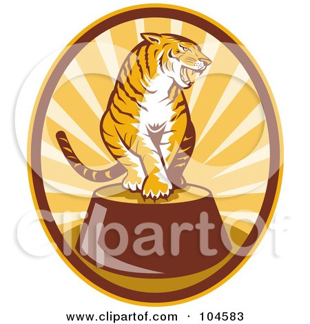 Royalty-Free (RF) Clipart Illustration of a Circus Tiger Logo by patrimonio