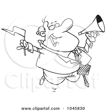 Royalty-Free (RF) Clip Art Illustration of a Cartoon Black And White Outline Design Of A Businessman Waving A Flag And Using A Megaphone by toonaday