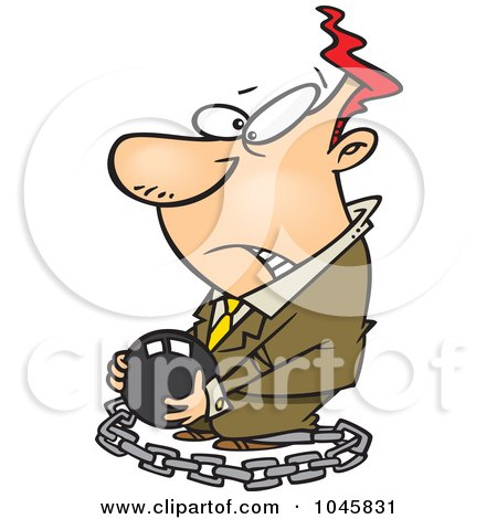 Royalty-Free (RF) Clip Art Illustration of a Cartoon Chained Businessman Carrying A Ball by toonaday
