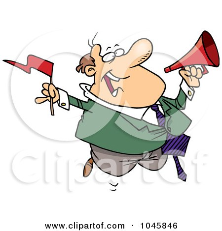 Royalty-Free (RF) Clip Art Illustration of a Cartoon Businessman Waving A Flag And Using A Megaphone by toonaday