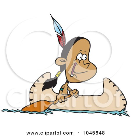 Royalty-Free (RF) Clip Art Illustration of a Cartoon Native American Boy In A Canoe by toonaday