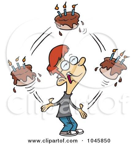 Royalty-Free (RF) Clip Art Illustration of a Cartoon Birthday Boy Juggling Cakes by toonaday