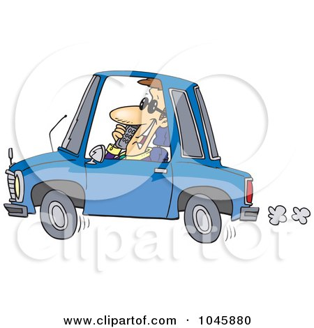 Royalty-Free (RF) Clip Art Illustration of a Cartoon Businessman Talking On A Phone And Driving by toonaday
