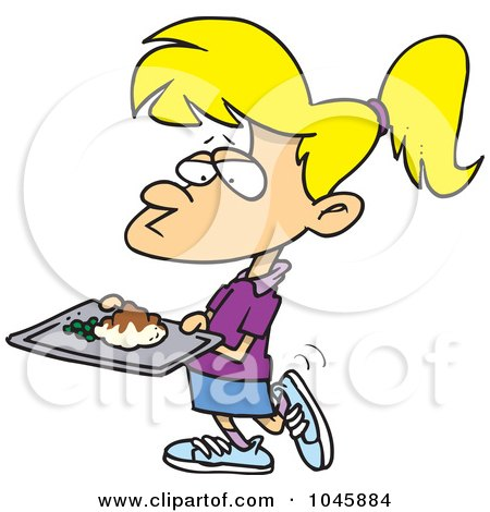 Royalty-Free (RF) Clip Art Illustration of a Cartoon Girl Carrying Cafeteria Food by toonaday