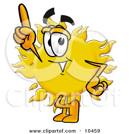 Clipart Picture of a Sun Mascot Cartoon Character Pointing Upwards by Toons4Biz