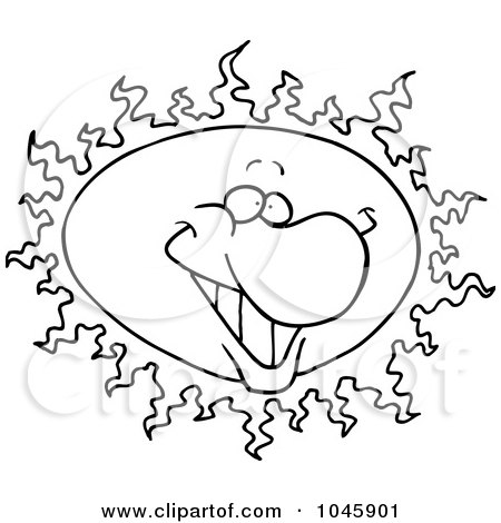 Royalty-Free (RF) Clip Art Illustration of a Cartoon Black And White Outline Design Of A Happy Sun by toonaday