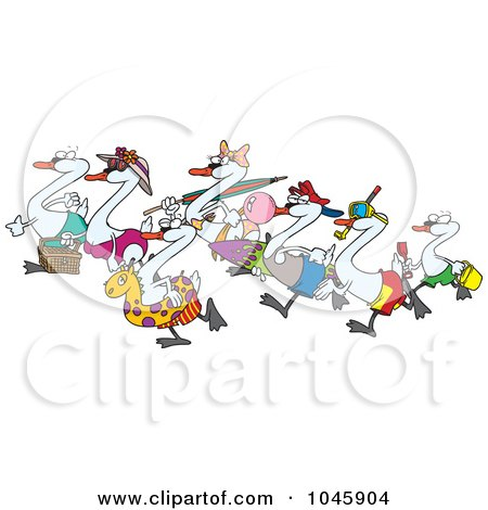 Royalty-Free (RF) Clip Art Illustration of Cartoon Seven Swans Going Swimming by toonaday