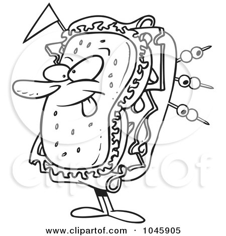 Royalty-Free (RF) Clip Art Illustration of a Cartoon Black And White Outline Design Of A Sandwich Character by toonaday