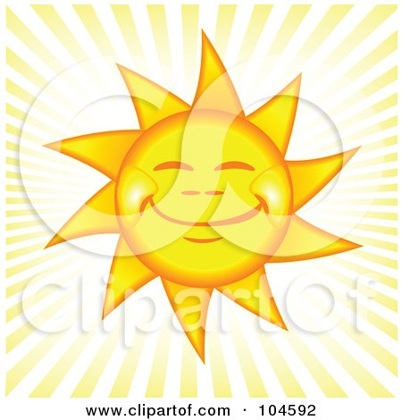 Royalty-Free (RF) Clipart Illustration of a Grinning Happy Afternoon Sun With Rays Of Light by tdoes