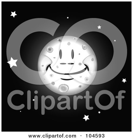 Royalty-Free (RF) Clipart Illustration of a Grinning Full Moon In A Black Sky With Stars by tdoes