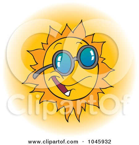 Royalty-Free (RF) Clip Art Illustration of a Cartoon Happy Sun Wearing Shades by toonaday
