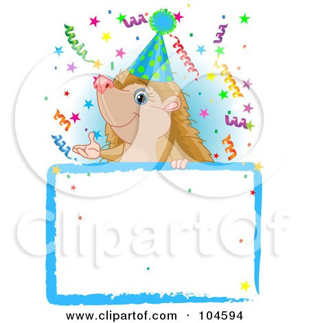 Royalty-Free (RF) Clipart Illustration of an Adorable Hedgehog Wearing A Party Hat And Looking Over A Blank Sign With Colorful Confetti by Pushkin