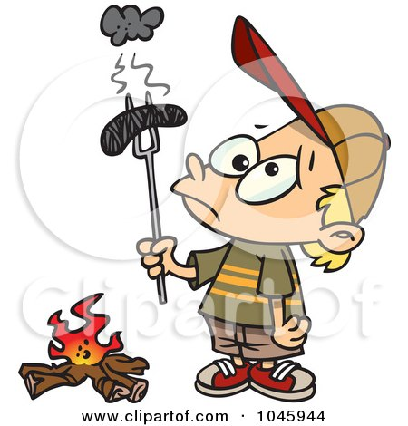 Royalty-Free (RF) Clip Art Illustration of a Cartoon Boy Holding A Burnt Weenie Over A Fire by toonaday