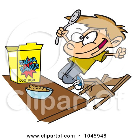 Royalty-Free (RF) Clip Art Illustration of a Cartoon Boy Eating Sugary Cereal by toonaday