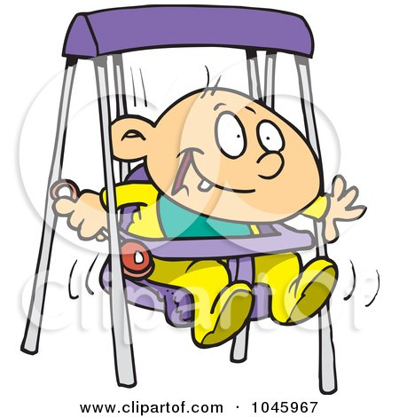 Royalty-Free (RF) Clip Art Illustration of a Cartoon Happy Baby Boy In A Swing by toonaday