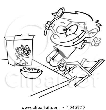 Royalty-Free (RF) Clip Art Illustration of a Cartoon Black And White Outline Design Of A Boy Eating Sugary Cereal by toonaday