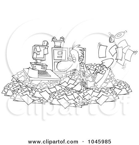 Royalty-Free (RF) Clip Art Illustration of a Cartoon Black And White Outline Design Of A Businessman Shoveling Through His Office Clutter by toonaday