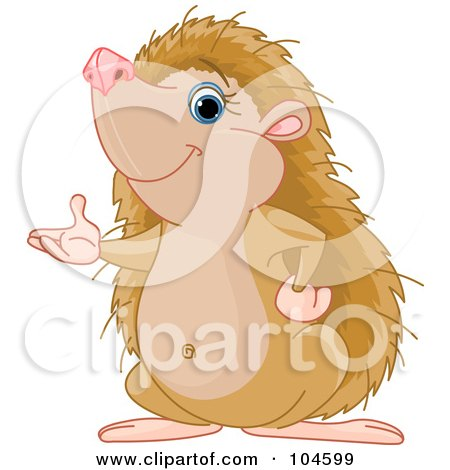 Royalty-Free (RF) Clipart Illustration of a Cute Hedgehog Standing Up On His Hind Legs And Presenting With One Hand by Pushkin