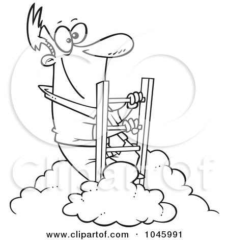 Royalty-Free (RF) Clip Art Illustration of a Cartoon Black And White Outline Design Of A Successful Businessman Climbing Above The Clouds by toonaday