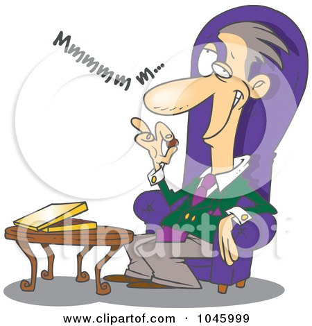 Royalty-Free (RF) Clip Art Illustration of a Cartoon Wealthy Man Eating Chocolates by toonaday