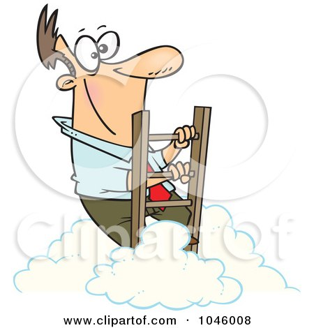 Royalty-Free (RF) Clip Art Illustration of a Cartoon Successful Businessman Climbing Above The Clouds by toonaday