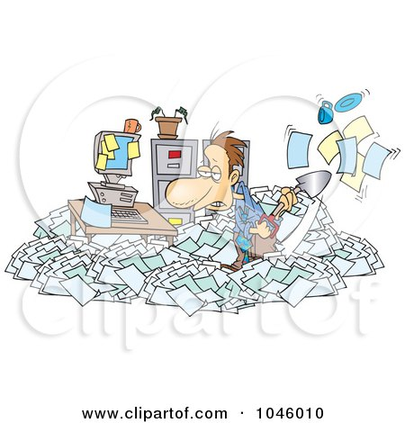 Royalty-Free (RF) Clip Art Illustration of a Cartoon Businessman Shoveling Through His Office Clutter by toonaday