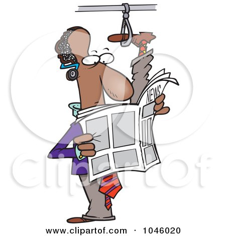 Royalty-Free (RF) Clip Art Illustration of a Cartoon Commuting Black Businessman With His Foot Up In A Handle by toonaday