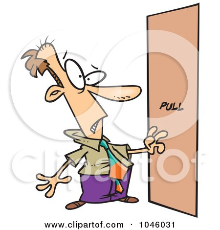 Royalty-Free (RF) Clip Art Illustration of a Cartoon Businessman Facing A Door Without A Handle by toonaday