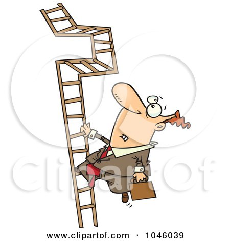 Royalty-Free (RF) Clip Art Illustration of a Cartoon Businessman Climbing A Convoluted Ladder by toonaday
