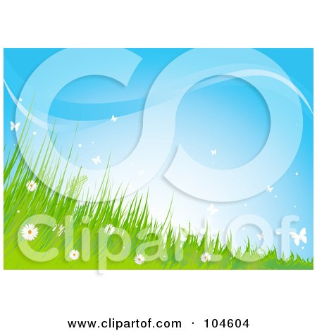 Royalty-Free (RF) Clipart Illustration of a Background Of Wildflowers, Grass And Butterflies Against A Blue Sky by Pushkin