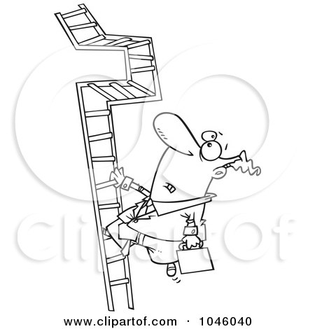 Royalty-Free (RF) Clip Art Illustration of a Cartoon Black And White Outline Design Of A Businessman Climbing A Convoluted Ladder by toonaday