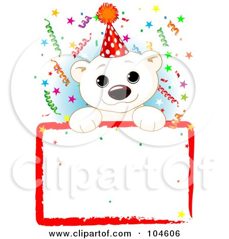 Royalty-Free (RF) Clipart Illustration of an Adorable Polar Bear Wearing A Party Hat And Looking Over A Blank Sign With Colorful Confetti by Pushkin