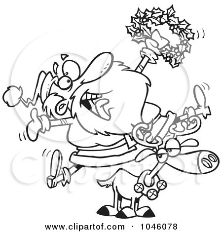 Royalty-Free (RF) Clip Art Illustration of a Cartoon Black And White Outline Design Of A Joyous Santa Riding A Reindeer by toonaday