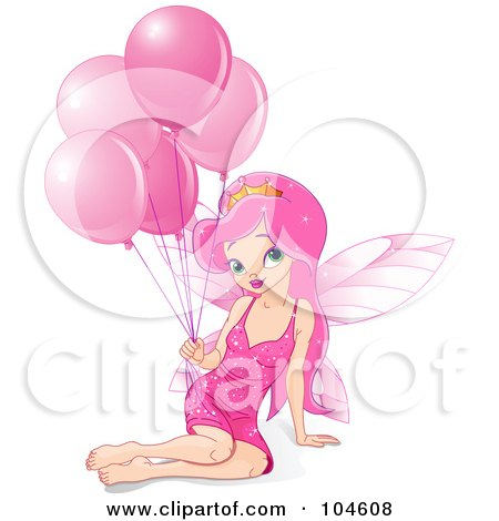 Royalty-Free (RF) Clipart Illustration of a Pretty Fairy Princess Girl With Long Pink Hair, Sitting With A Bunch Of Pink Birthday Balloons by Pushkin