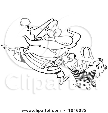 Royalty-Free (RF) Clip Art Illustration of a Cartoon Black And White Outline Design Of Santa Shopping by toonaday
