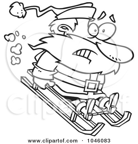 Royalty-Free (RF) Clip Art Illustration of a Cartoon Black And White Outline Design Of A Sledding Santa by toonaday