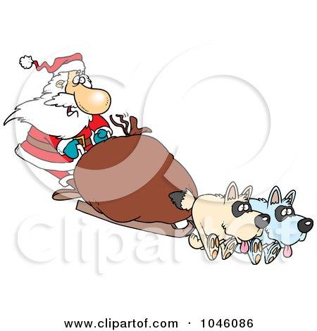 Royalty-Free (RF) Clip Art Illustration of a Cartoon Santa Mushing by toonaday