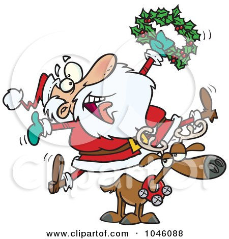 Royalty-Free (RF) Clip Art Illustration of a Cartoon Joyous Santa Riding A Reindeer by toonaday