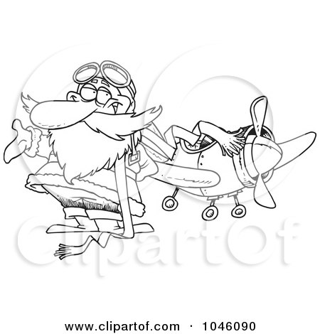 Royalty-Free (RF) Clip Art Illustration of a Cartoon Black And White Outline Design Of A Pilot Santa by toonaday