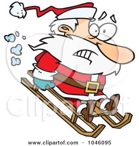 Royalty-Free (RF) Clip Art Illustration of a Cartoon Sledding Santa by toonaday