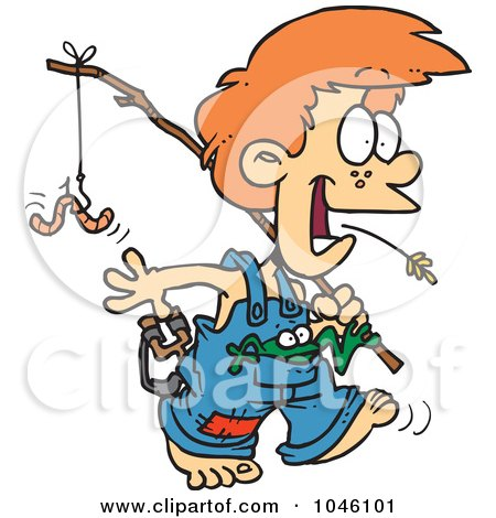 Royalty-Free (RF) Clip Art Illustration of a Cartoon Country Boy Carrying A Fishing Pole by toonaday
