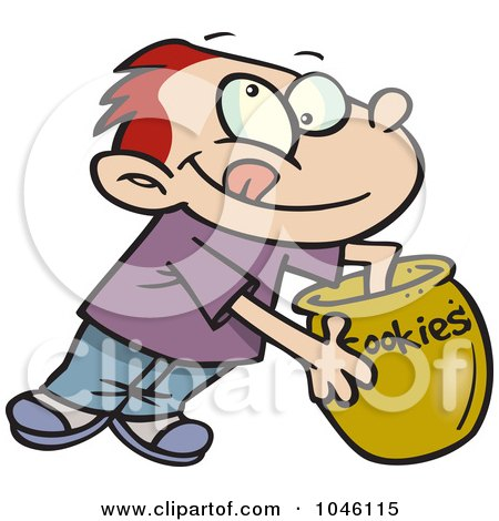 Royalty-Free (RF) Clip Art Illustration of a Cartoon Boy Reaching In A Cookie Jar by toonaday
