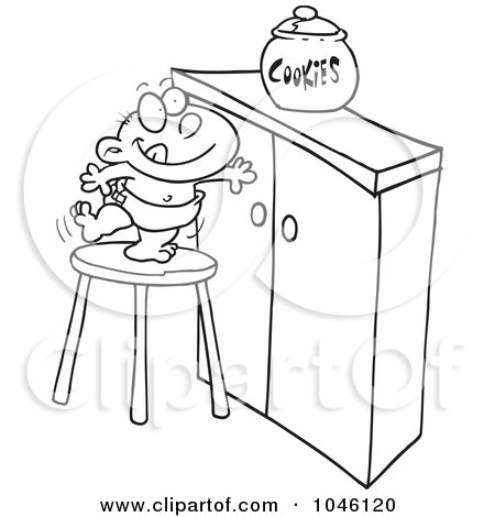 Royalty-Free (RF) Clip Art Illustration of a Cartoon Black And White Outline Design Of A Baby Trying To Get A Cookie Jar by toonaday