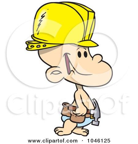 Royalty-Free (RF) Clip Art Illustration of a Cartoon Construction Baby Boy by toonaday