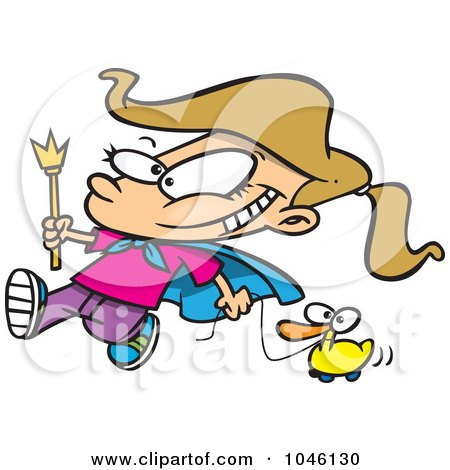 Royalty-Free (RF) Clip Art Illustration of a Cartoon Parade Girl Pulling A Duck by toonaday