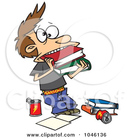 Royalty-Free (RF) Clip Art Illustration of a Cartoon Boy Cramming Books In His Mouth by toonaday
