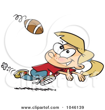 Royalty-Free (RF) Clip Art Illustration of a Cartoon Running Girl Catching A Football by toonaday