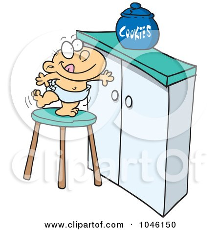 Royalty-Free (RF) Clip Art Illustration of a Cartoon Baby Trying To Get A Cookie Jar by toonaday