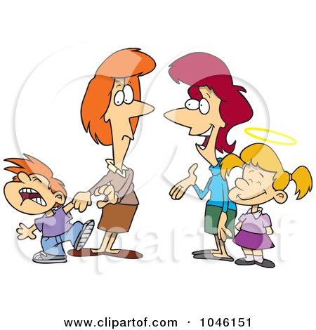Royalty-Free (RF) Clip Art Illustration of Cartoon Mothers With Contrasting Kids by toonaday